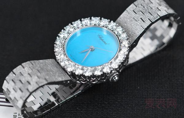 蓝色表盘还镶钻的萧邦珠宝手表高价回收可以吗?